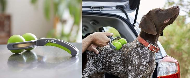 split screen image - left half features a handheld dog massager close-up, right half shows dog massager being applied to a dogs back