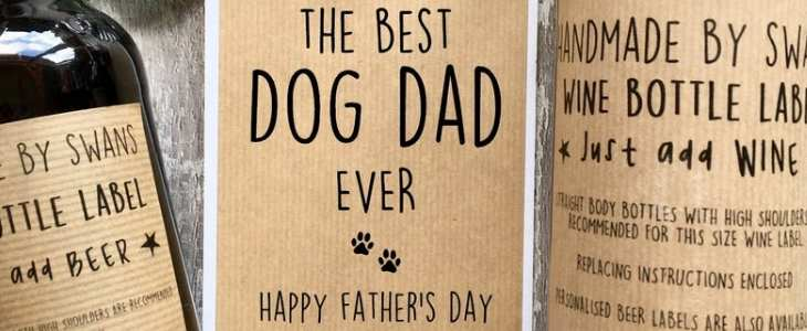 "personalized wine label showing ""the best dog dad ever happy father's day"""