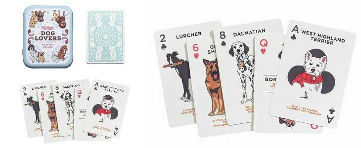 dog lovers playing cards deck, deck cover and a sample hand of two of spades, six of clubs, eight of spades, queen of hearts and ace of clubs